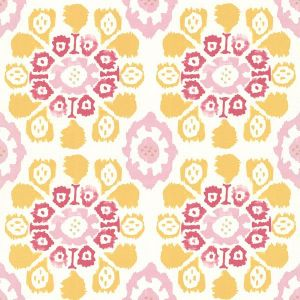 330239 Valencia Ikat Floral Yellow Brewster Wallpaper