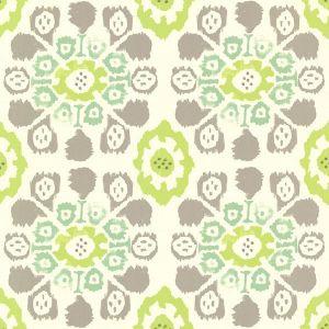 330238 Valencia Ikat Floral Green Brewster Wallpaper