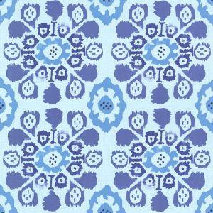 330237 Valencia Ikat Floral Blue Brewster Wallpaper