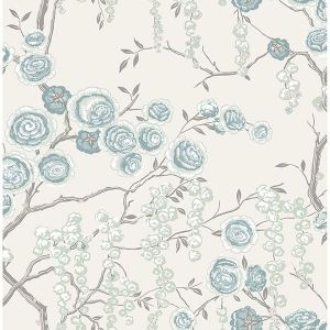 2785-24832 Peony Tree Aqua Brewster Wallpaper