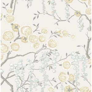 2785-24833 Peony Tree Citrine Brewster Wallpaper
