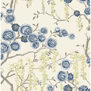 2785-24830 Peony Tree Indigo Brewster Wallpaper