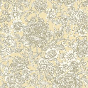 M1187 Hedgerow Floral Trails Light Yellow Brewster Wallpaper