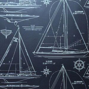 LWP62220W COLLECTION CHESAPEAK White On Navy Ralph Lauren Wallpaper