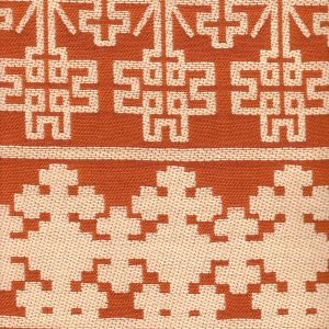 010954T ADOBE HANDSTITCH Terracotta Ecru Quadrille Fabric