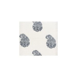6040-02WSUN BANGALORE PAISLEY Navy on White Quadrille Fabric