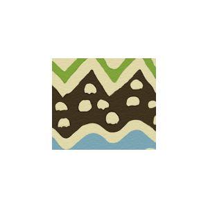 AC103-21 CAP FERRAT Turquoise Brown Jungle on Tint Quadrille Fabric