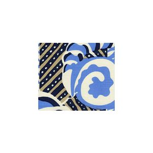 AC100-12SUN FERNS Blues Beige Quadrille Fabric