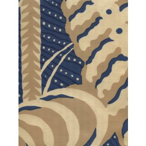 AC100SS-01 FERNS Camels Navy on Silk Quadrille Fabric