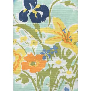 8310-03 FLOWERS II Aqua Orange Yellow Green Custom Only Quadrille Fabric