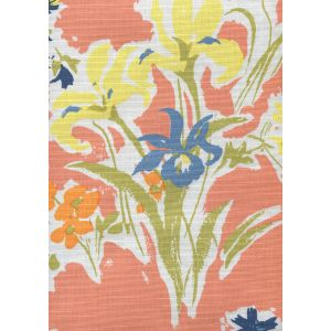 8310-05 FLOWERS II Coral Yellow Green Orange Custom Only Quadrille Fabric
