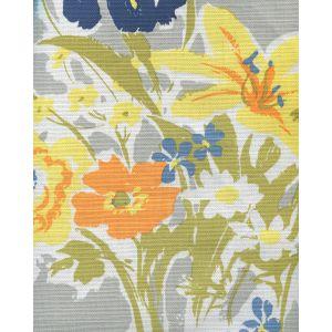 8310-07 FLOWERS II Grey Yellow Orange Green Custom Only Quadrille Fabric