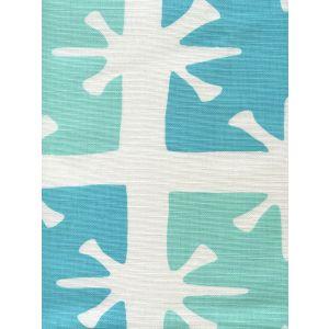 8095-04WLC GEORGIA LARGE SCALE Aqua Turquoise on White Custom Only Quadrille Fabric