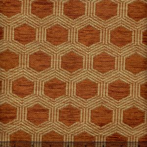 010975T HEXAGON Terracotta Quadrille Fabric