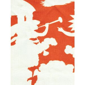 302724F-CU INDEPENDENCE BACKGROUND Orange on Tint Quadrille Fabric