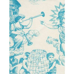 302711F-CU INDEPENDENCE ENGRAVING Turquoise on Tinted Linen Quadrille Fabric