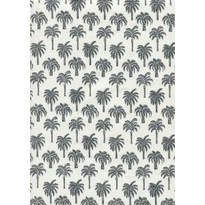 814-09 ISLAND PALM Black on White Chintz Quadrille Fabric
