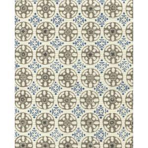 8170-06 KEDIRI BATIK Navy Charcoal Grey Light Grey Quadrille Fabric