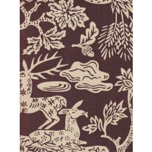 302455T-07 MAGIC GARDEN REVERSE Brown on Tan Quadrille Fabric