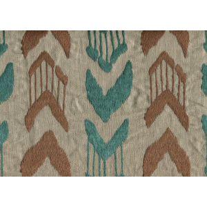 020241T-E MUMBAI IKAT Turquoise Brown Quadrille Fabric