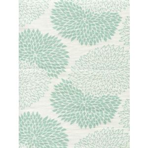 6290-04 NEW CHRYSANTHEMUM Aqua on White Quadrille Fabric