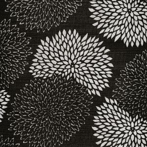 6295-12 NEW CHRYSANTHEMUM REVERSE Black on White Quadrille Fabric