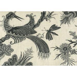 306208F PARADIS Black on Tint Quadrille Fabric