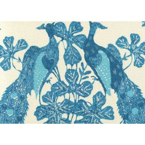 8270-01 PEACOCK BATIK Multi Turquoise on Tint Quadrille Fabric