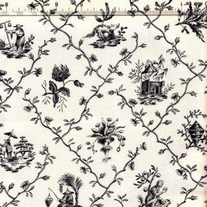 1662-04 PILLEMENT TOILE Noir Quadrille Fabric