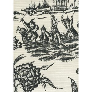 306259F ROYAL JOURNEY II Black on Tint Quadrille Fabric