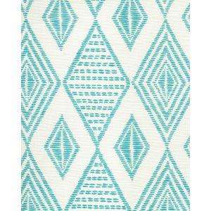 AC850-03 SAFARI EMBROIDERY Medium Turquoise on Tint Quadrille Fabric