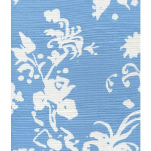 8130W-13 SILHOUETTE REVERSE Medium Blue on White Custom Only Quadrille Fabric