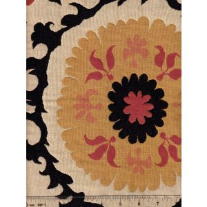 010221T SUZANI Red Black Gold on Beige Quadrille Fabric
