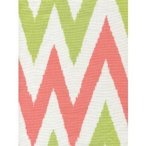 306021F TASHKENT II SMALL SCALE Coral Green Green on White Quadrille Fabric