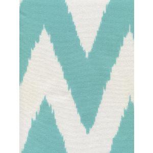 302503F-SUN TASHKENT Turquoise on White Quadrille Fabric