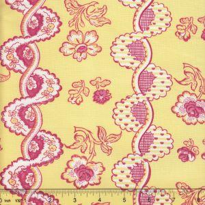 2440-01 TOILE RAYURE DE VIZILLE Citron Quadrille Fabric