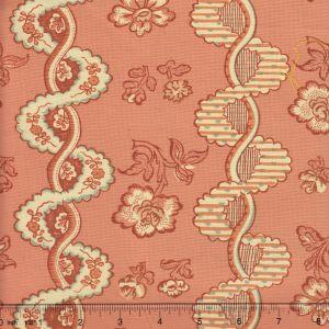 2440-02 TOILE RAYURE DE VIZILLE Rouille Quadrille Fabric