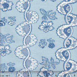 2440-05 TOILE RAYURE DE VIZILLE Sky Quadrille Fabric