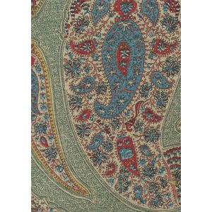 306550F-MULTI TOMS PAISLEY Multi Turquoise Teal Red on Oatmeal Quadrille Fabric