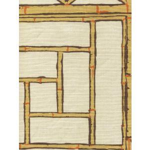 6020-07 LYFORD TRELLIS Beige Taupe Orange Quadrille Fabric