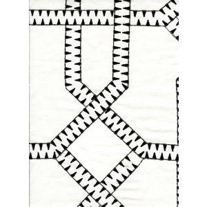 020100T-E ZEBRA EMBROIDERY Black Cream Quadrille Fabric