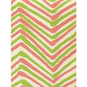 AC950-08 ZIG ZAG MULTI COLOR Coral Jungle Green on Tint Quadrille Fabric
