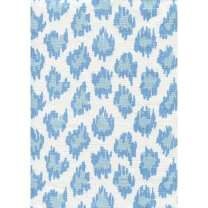 7325-00W ZIZI LEOPARD Sky Blues on White Quadrille Fabric