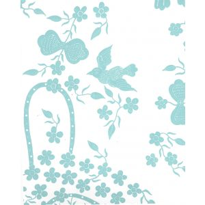 5050-02WP BIRDS II New Blue On White Quadrille Wallpaper