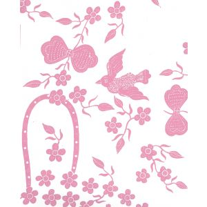5050-05WP BIRDS II Pink On White Quadrille Wallpaper
