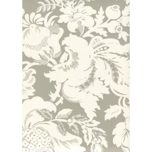 306586W DES GARDES REVERSE Gray On Off White Quadrille Wallpaper