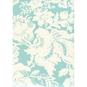 306585W DES GARDES REVERSE Turquoise On Off White Quadrille Wallpaper