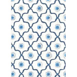 306320W-04WWP LONGFELLOW Navy French Blue On White Quadrille Wallpaper