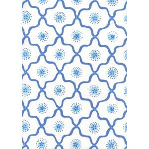 306320W-06WWP LONGFELLOW Royal New Blue On White Quadrille Wallpaper