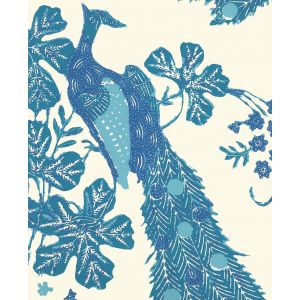 8270WP-05OWP PEACOCK BATIK Multi Blues On Off White Quadrille Wallpaper